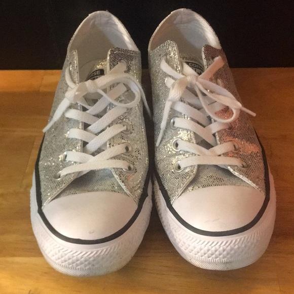 b0e2678d5710c4 Converse Shoes - Silver Sequin Converse size 9